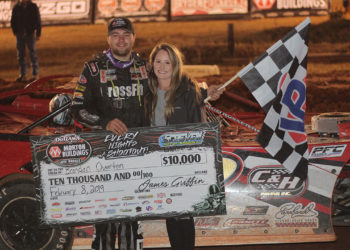 Brandon Overton in victory lane at Screven Motor Speedway's 2019 Winter Freeze