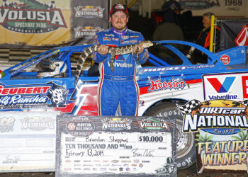Brandon Sheppard in Victory Lane at DIRTcar Nationals