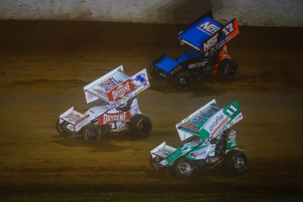 Logan Schuchart (1S), Sheldon Haudenschild (17) and Kraig Kinser (11K) during the Patriot Nationals at The Dirt Track at Charlotte in Concord, North Carolina.