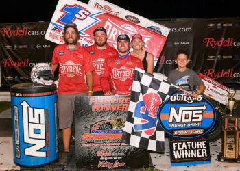 June 7, 2018: Logan Schuchart and members of his team celebrate his World of Outlaws Sprint car win at River Cities Speedway, Grand Forks, ND. Photo by Russell Hons/CSM sports, zselect, zsports, zmotorsports, grand, forks, speedway, dirt, track, sprint, sprintcar, river, cities, north, dakota, zcsm, zagency, racing, car, race, world, of, outlaws Descriptions are in the metadata captions attached to the photos