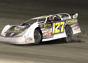 Blake Matjoulis (127) scored his second iRacing World of Outlaws Morton Buildings Late Model World Championship win of 2019 at Limaland Motorsports Park.