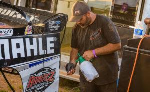 Brett Ladehoff prepares Gustin's Car