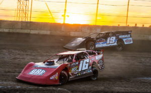 Tyler Bruening and Ryan Gustin battle at Plymouth Speedway