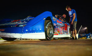 Sheppard gets out of the car at Gondik Law Speedway