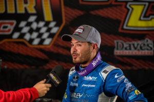 Larson gets interviewed in Victory Lane