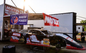 Brent Laron's car sits in the pits at Gondik Law Speedway